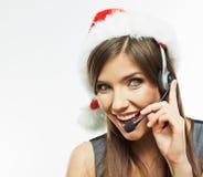 Cierre de la mujer de Christmass Papá Noel encima del retrato de la cara Mujer de negocios w Foto de archivo