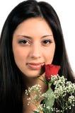 Cierre de la mujer de Rose para arriba Foto de archivo libre de regalías