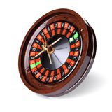 Cierre de la ruleta del oro del casino para arriba stock de ilustración