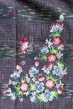 Cierre de la superficie de la manta del estilo de Tailandia encima de la tela del vintage Imágenes de archivo libres de regalías