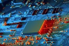 Cierre de la tarjeta de circuitos electrónicos para arriba fotografía de archivo
