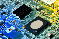 Cierre de la tarjeta de circuitos electrónicos para arriba Fotografía de archivo libre de regalías