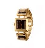 Cierre de oro del reloj para arriba Foto de archivo libre de regalías