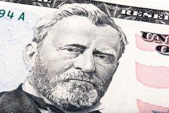 Cierre de presidente Ulysses S Grant a partir del billete de dólar el cincuenta Foto apilada fotografía de archivo libre de regalías