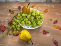 Cierre decorativo blanco de la placa de las uvas blancas para arriba foto de archivo libre de regalías