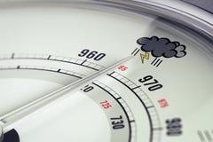 Cierre del barómetro del mún tiempo para arriba stock de ilustración