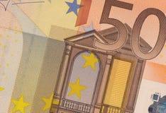 Cierre del billete de banco del euro de Uncirculated 50 para arriba Foto de archivo