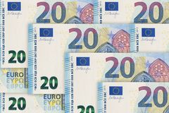 cierre del billete de banco del euro 20 para arriba Veinte Euros Bill imagen de archivo libre de regalías