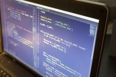 Cierre del código del PHP y de CSS3/LESS/SASS del desarrollador de web para arriba Código de conexión de la base de datos imagen de archivo
