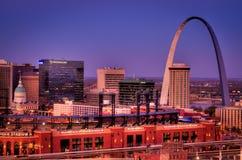 Cierre del centro de la ciudad del Saint Louis encima de la visión Imagen de archivo