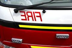 Cierre del coche de bomberos para arriba Imagenes de archivo