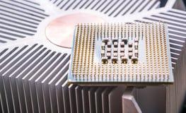 Cierre del componente de la CPU del ordenador para arriba fotografía de archivo