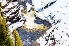 Cierre del invierno para arriba de Lee Falls, la porci?n inferior de ca?das de Helmcken, en el r?o nevado de Murtle imágenes de archivo libres de regalías