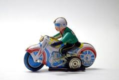 Cierre del juguete del vintage de la moto para arriba foto de archivo