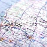 Cierre del mapa de la carretera de Michigan para arriba Imágenes de archivo libres de regalías