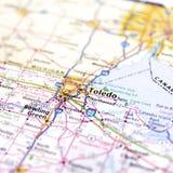 Cierre del mapa de la carretera de Ohio para arriba foto de archivo