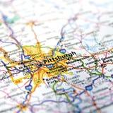 Cierre del mapa de la carretera de Pennsylvania para arriba Foto de archivo libre de regalías