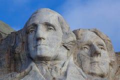 Cierre del monte Rushmore Washington Jefferson para arriba Foto de archivo