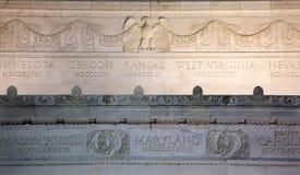 Cierre del monumento de Lincoln encima del Washington DC de los detalles Imagen de archivo