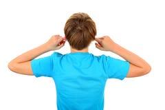 Cierre del niño los oídos Foto de archivo
