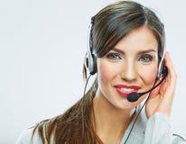 Cierre del operador de la atención al cliente encima del retrato smili del centro de atención telefónica Foto de archivo libre de regalías