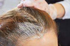 Cierre del tinte de pelo para arriba imagenes de archivo