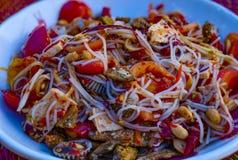 Cierre encima de la ensalada tailandesa de la papaya de los tallarines de arroz foto de archivo