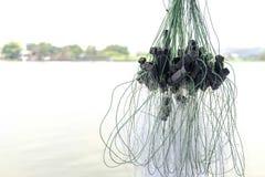 Cierre encima de la red de pesca fotografía de archivo
