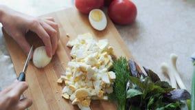 Cierre encima de las manos del cocinero con el cuchillo que corta el huevo hervido en el tablero de madera Concepto del alimento almacen de video