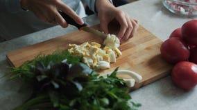 Cierre encima de las manos de la mujer con el cuchillo que corta el huevo hervido en el tablero de madera Concepto del alimento almacen de metraje de vídeo