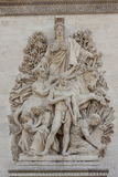 Cierre encima de los detalles Arc de Triomphe en París Imagen de archivo