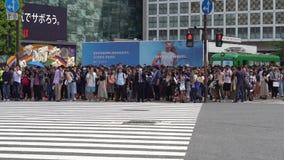 Cierre encima de los semáforos del peatón que esperan para en la travesía de Shibuya metrajes