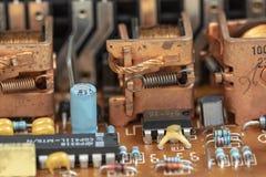 Cierre encima del fondo componente del dispositivo electrónico foto de archivo libre de regalías