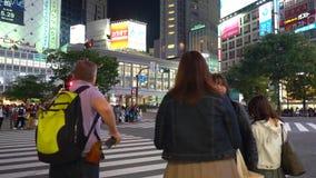 Cierre encima del peatón que camina en la travesía de Shibuya en el noche-lapso almacen de metraje de vídeo