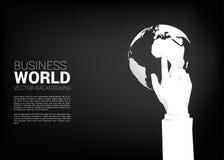 Cierre encima del tacto del finger del hombre de negocios el globo stock de ilustración