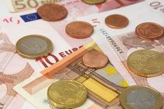 Cierre europeo del dinero en circulación para arriba. Fotografía de archivo libre de regalías