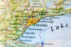 Cierre geográfico del mapa de Toronto imágenes de archivo libres de regalías