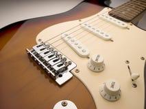 Cierre granangular de la guitarra eléctrica para arriba imagen de archivo