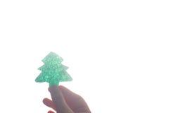 Cierre hecho a mano del árbol de navidad para arriba como fondo Fotografía de archivo libre de regalías