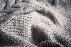 Cierre hecho punto de la textura de las lanas de la tela para arriba Imagen de archivo libre de regalías