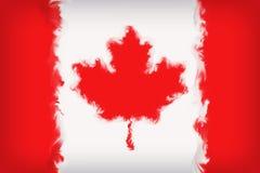 Cierre hermoso de la bandera de Canadá para arriba ilustración del vector