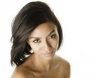 Cierre hermoso de la mujer joven para arriba de su sonrisa de la cara Imagen de archivo