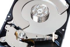 Cierre interno desmontado de la caja de la unidad de disco duro para arriba Foto de archivo