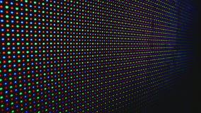 Cierre llevado de la exhibición para arriba Demostración del LED - colores y formas en la pantalla LED como fondo abstracto almacen de video