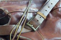 Cierre marrón de cuero del bolso para arriba Fotografía de archivo libre de regalías