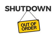 Cierre - notificación sobre ser fuera de servicio y cerrado ilustración del vector