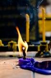 Cierre para arriba del palillo de la vela Fotos de archivo libres de regalías