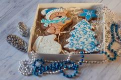 Cierre para arriba del sistema agradable de la Navidad de diversas figuras y decoraciones del pan de jengibre Imagenes de archivo