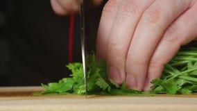 CIERRE PARA ARRIBA: El cocinero corta un perejil en una tabla de cortar en una cocina metrajes