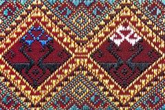 Cierre peruano de la superficie de la manta del estilo de la artesanía de seda tailandesa colorida para arriba Imagen de archivo libre de regalías